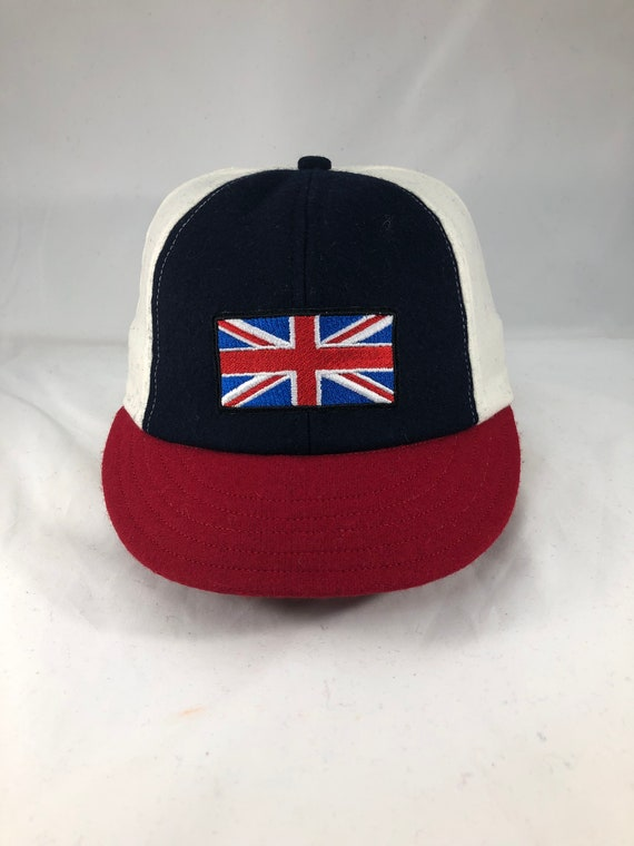 "Red, white and navy wool panel baseball cap, British or American flag embroidery,  made to order in any size. 2.5"" visor, cotton sweatband."