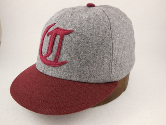6 panel dark grey wool flannel cap. 1910s visor, Maroon visor, Hand cut felt logo, cotton sweatband, any size, custom made.