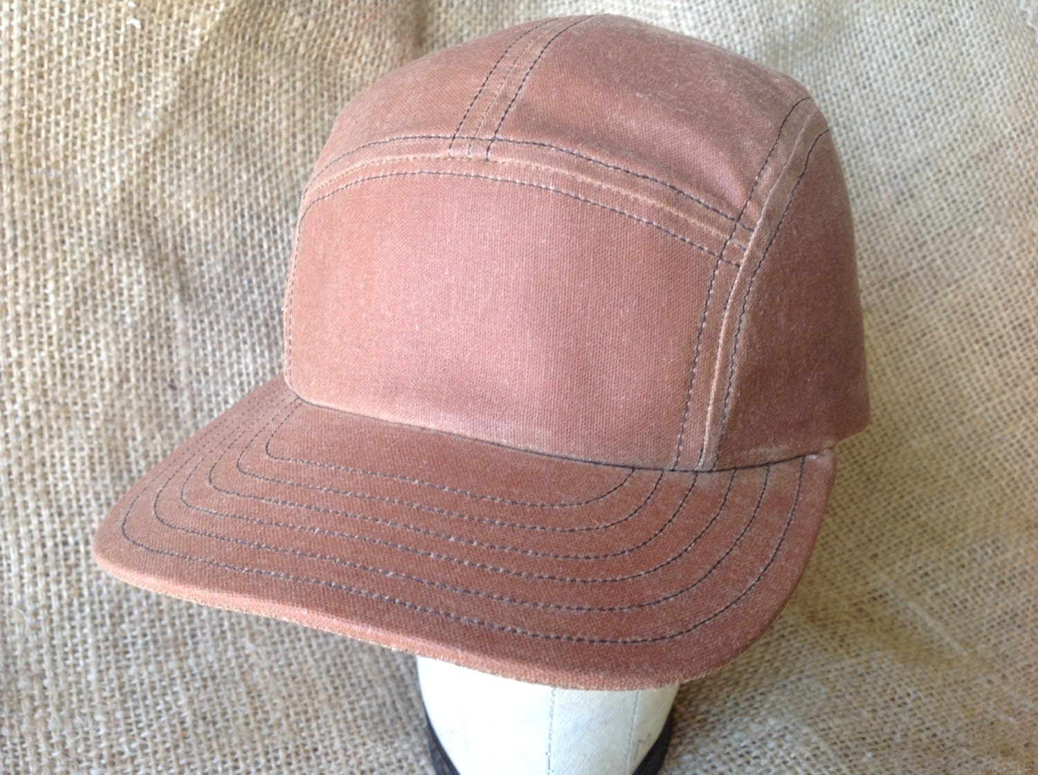 e19a1d645316f Waxed Cotton 5 panel cap. Available in dark brown light brown