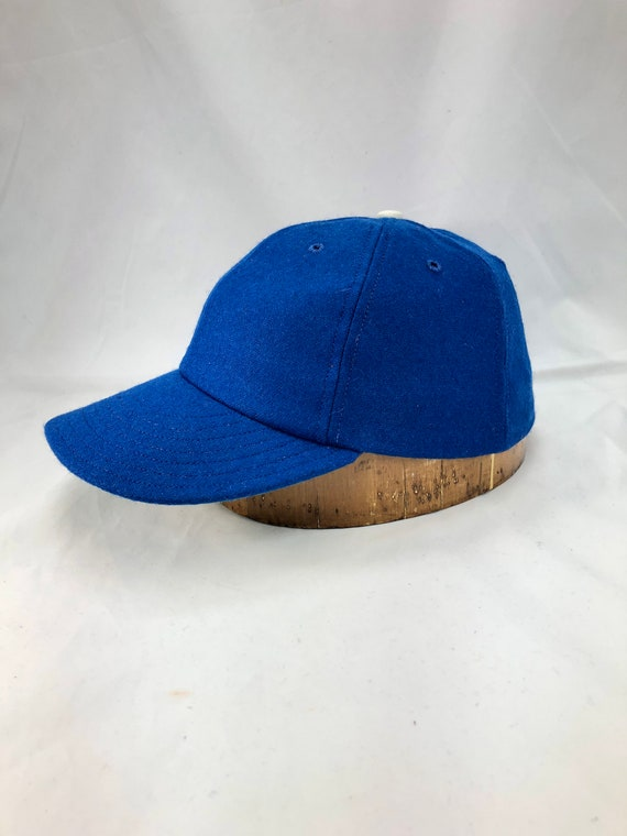 "Royal blue melton wool 6 panel cap with 3"" visor. Any size available. Select at checkout. Made to order."