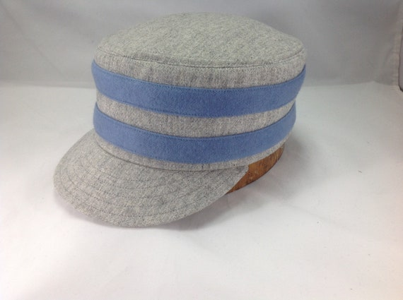 Providence Greys Vintage Base Ball team cap. Light Grey wool box cap with two light blue wool serge bands. Any size available.