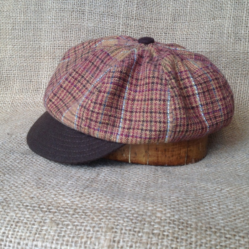 6584bb8fa2 Hand crafted, plaid wool blend 8 panel baggy cap, long or short visor,  adjustable or fitted with cotton or leather sweatband.
