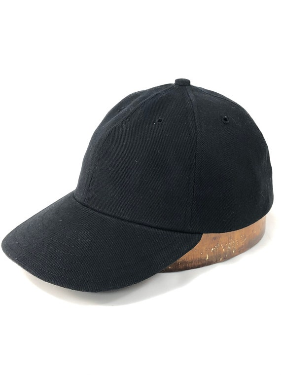 "Black denim 6 panel cap with 2"", 2.5"" or 3"" visor. Select visor length and cap size at checkout."