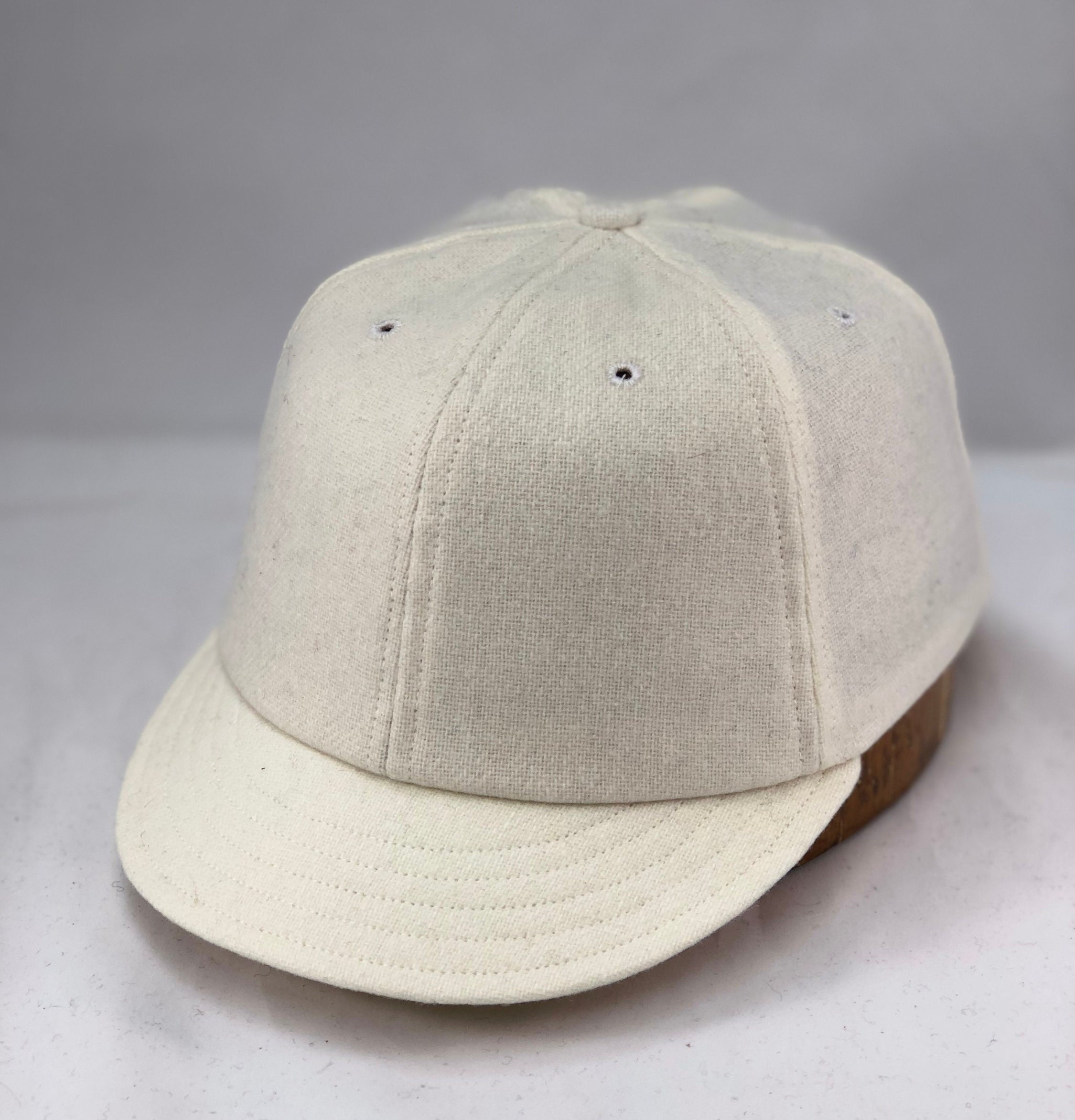 """a8997f03d4040 White wool flannel 6 panel cap with 2"""" visor. Custom made to order ..."""