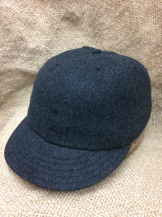 Charcoal grey soft wool flannel 6 panel cap with short vintage visor, custom made to order. Fitted to any size. Select your size at checkout
