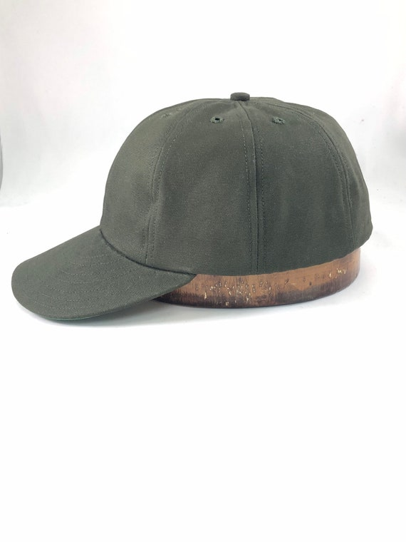 """Olive Drab 8 panel cotton canvas cap. Shallow cut, stiff or flexible 2.5"""" visor, any size, hand crafted to order."""