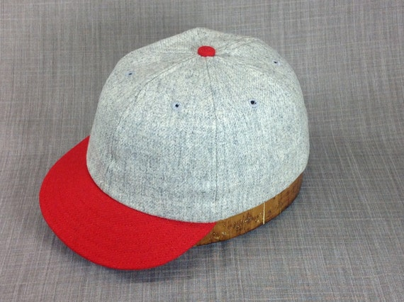 6 panel light grey wool flannel ballcap with red 1910s visor, cotton sweatband,  custom made, select size upon checkout.