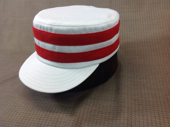 Ohio Muffins Vintage Base Ball cap. White heavy twill cotton cap with two red cotton bands, any size available.