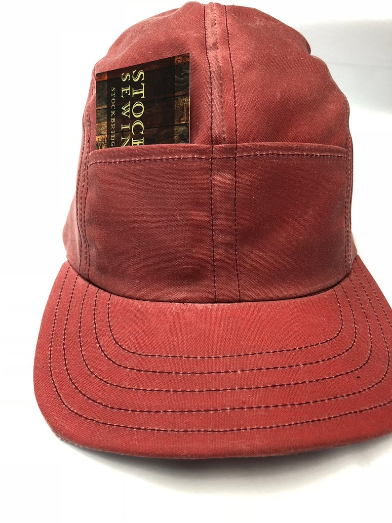 6db4ac3aafebd Nautical Red Waxed cotton 4 panel cap with front pockets.