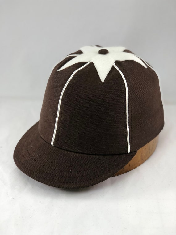 Brown brushed cotton canvas 6 panel cap with soutache and felt star. Any size available.