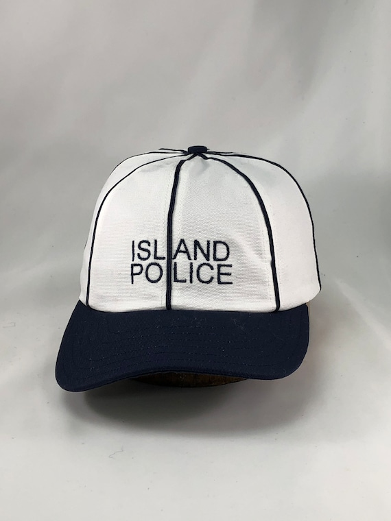 "ISLAND POLICE 8 panel cap in brushed cotton, navy soutache on seams, 2.5"" visor. ANY size, select at checkout."