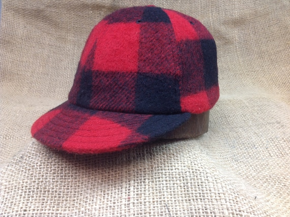 Buffalo plaid wool cap. 1910s visor, leather or cotton sweatband, any size, custom made.
