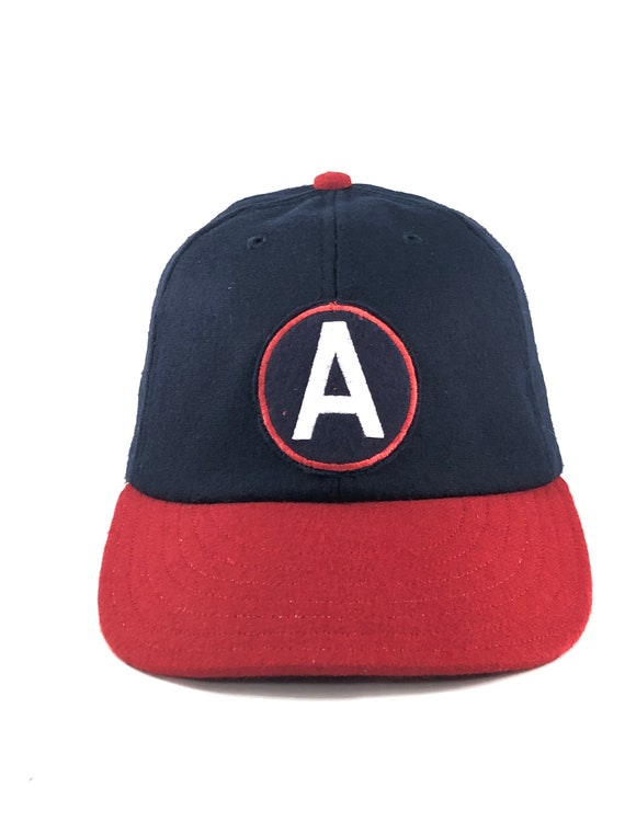 ANY Letter on Felt Letter Patch sewn on navy and red melton wool cap with leather sweatband, ANY size, select at checkout.