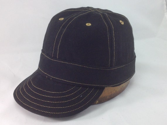 6 panel denim Mechanics cap with bottom band, flexible short visor, any size available.
