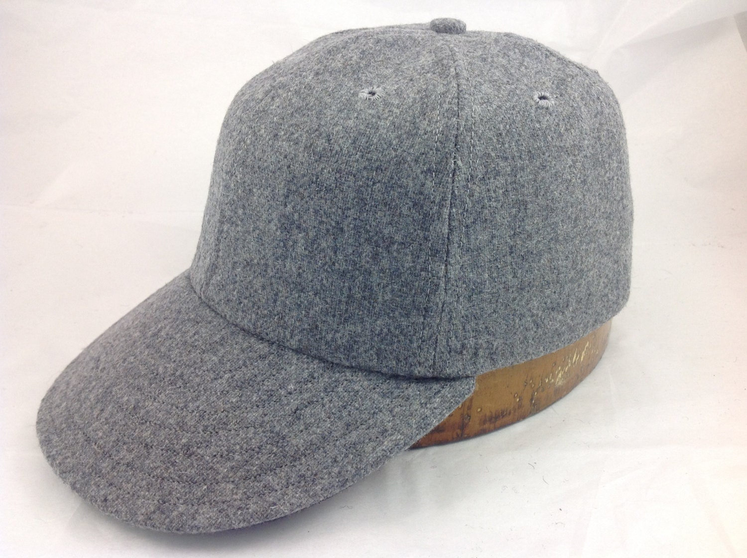 6 panel (any color) wool flannel ballcap  1940s visor, cotton