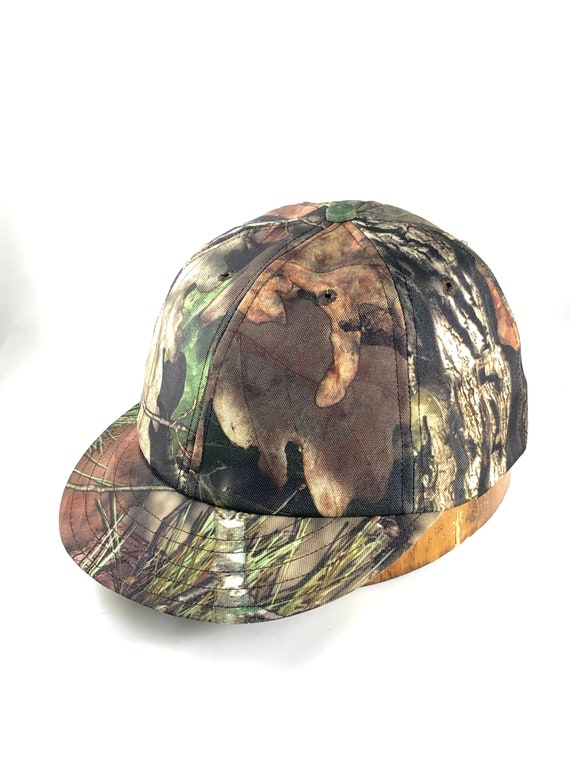 Archer / Bowhunter short visor camo cap. Water resistant Denier nylon shell with brushed cotton sweatband, any size available.