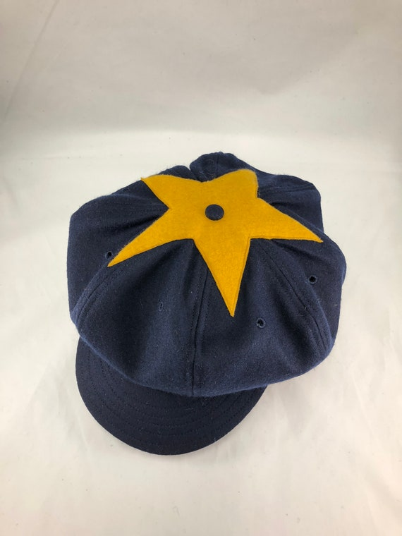 Star Base Ball Club of Colorado Territory Vintage team cap. Navy wool 8 panel baggy cap, felt star in old gold on top, fitted to any size.