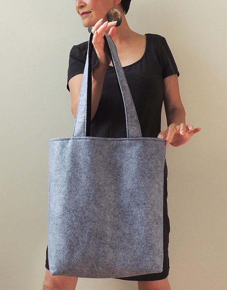 New York Tote Bag Grey Wool Felt Tote Bag