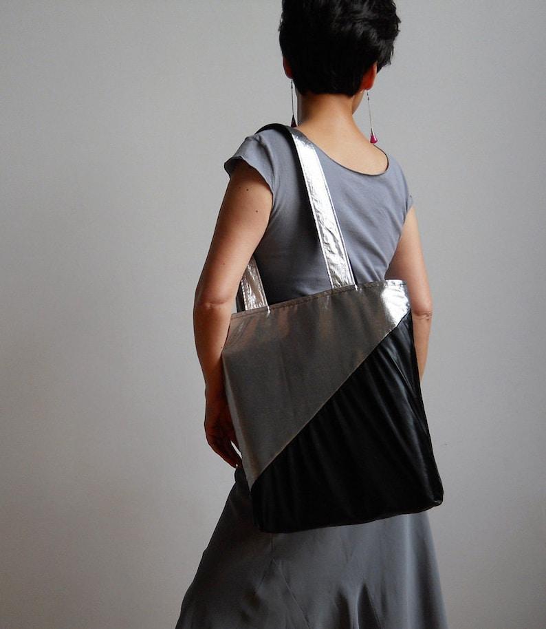 New York Tote Bag Metallic Silver and Black Tote Bag Silver Screen Nights Tote