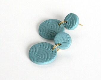 Green Waves Earrings, Polymer Clay Earrings, Textured Earrings, Post Earrings, Polymer Clay Jewelry, Slow Jewelry, Lightweight Earrings