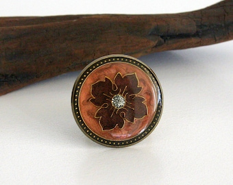 Copper Flower Button Ring, Byzantine Flower Ring, Copper Luster Ring, Button Jewelry, Wire Wrapped Ring, Gold Wire Ring, Glitter Button Ring