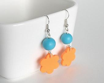 Orange Flower Earrings, Blue Bead Earrings, Polymer Clay Earrings, Lightweight Earrings, Polymer Clay Jewelry, Small Batch Jewelry