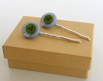 Blue Button Hair Pins, Green Button Hair Pins, Silver Hair Pins, Button Hair Pins, Summer Hair Accessories, Decorative Hair Pins