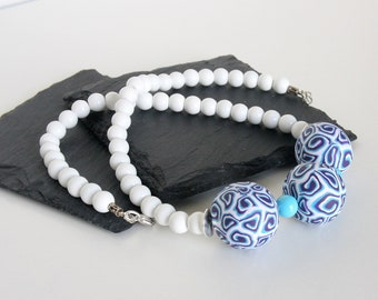 Polymer Clay Bead Necklace, White Bead Necklace, Chunky Bead Necklace, Turquoise Blue Necklace, Purple Bead Necklace, Small Batch Jewelry