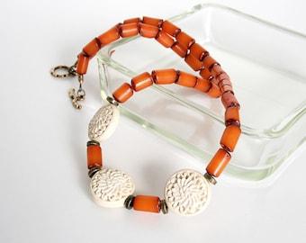 Orange Buri Nut Necklace, Cinnabar Bead Necklace, Orange Bead Necklace, Antique Brass Bead Necklace, Buri Bead Jewelry, Lightweight Necklace