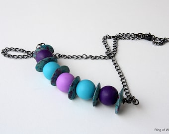 Purple Bead Necklace, Polymer Bead Necklace, Greek Ceramic Bead Necklace, Polymer Clay Jewelry, Blue Bead Necklace, Bar Necklace