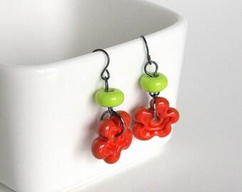 Orange Flower Earrings, Glass Bead Earrings, Green Bead Earrings, Lightweight Earrings, Lampwork Jewelry, Slow Fashion, Flower Jewelry