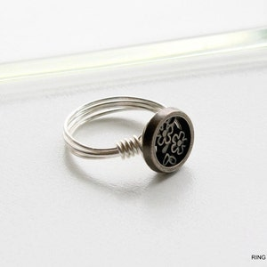 Flower Button Sterling Silver Wire Wrapped Ring