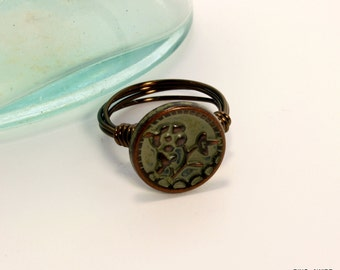 Copper Button Ring, Green Flower Button Ring, Metal Button Ring, Wire Wrapped Ring, Antique Brass Wire Ring, Patina Metal Ring