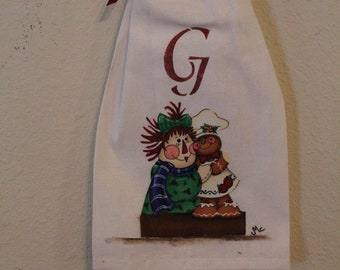 Christmas Raggedy Anne and Gingerbread Towel...Decorative Only...Holiday Decor..