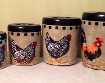 Rooster Canister Set Etsy