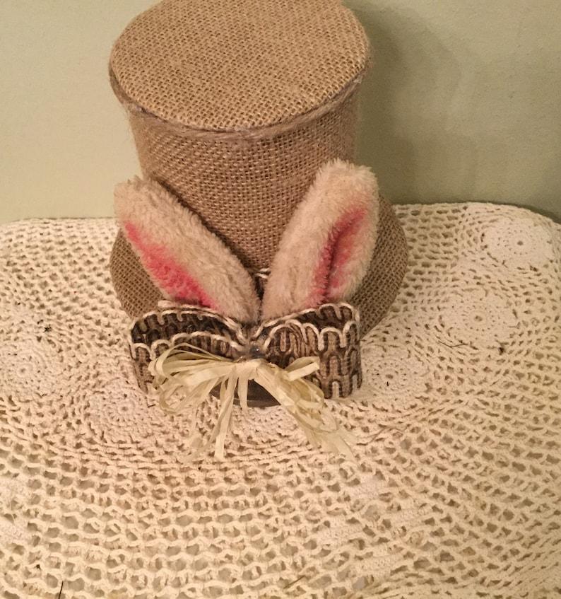 Bunny Faux Top Hat Easter Housewarming Bunny Lover Handmade Ready  to Ship Easter Decor Easter Centerpiece Bunny Ear Hat Decor