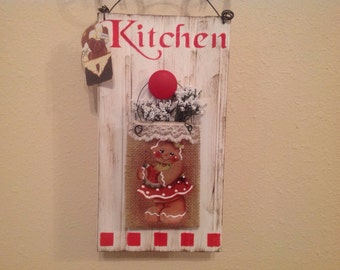 Gingerbread wall decor kitchen decor handmade housewarming gift country kitchen ginger lover kitchen wall ginger home decor ready to ship