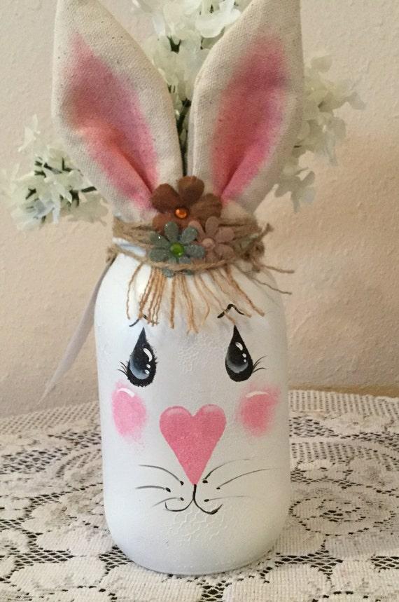 decortive ester ccents easter rabbit decor bunny.htm mason upcycled quart jar easter decor country home bunny etsy  mason upcycled quart jar easter decor