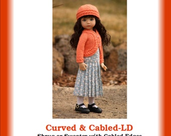 """CURVED & CABLED-LD--Knitting Pattern for Dianna Effner's 13"""" Little Darling Studio Dolls"""