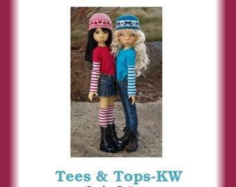 "Tees & Tops-KW--PDF Sewing Pattern for Kaye Wiggs' 18"" MSD Dolls"