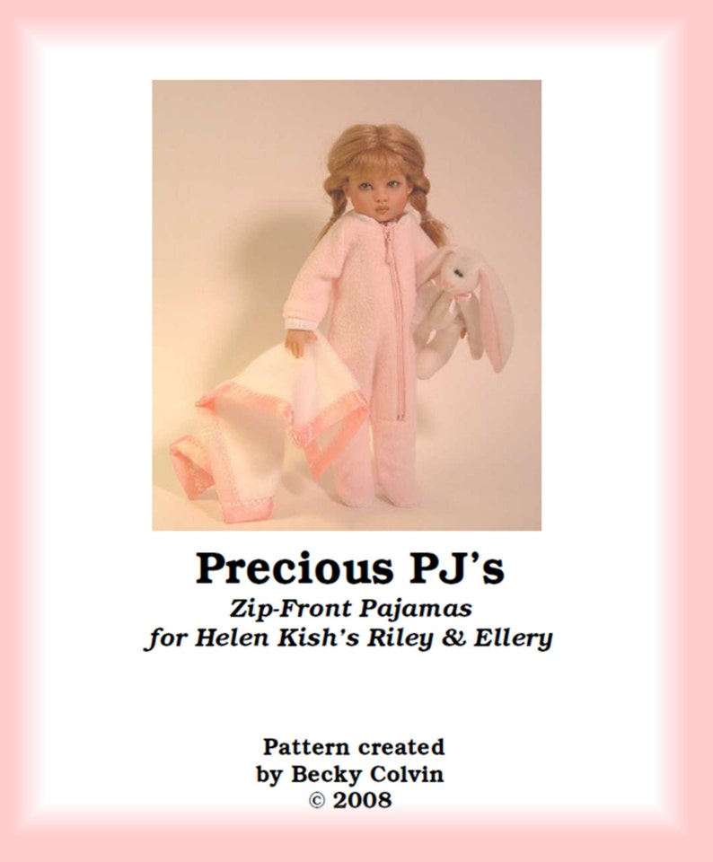 Precious PJs-RPDF Zip-front Pajamas Pattern for Helen image 0