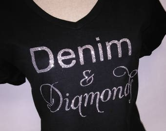 58533d62699 Denim   Diamonds T-Shirt - Denim and Diamonds Tee - Denim Bling T-Shirt -  Diamonds T-Shirt - Denim and Diamonds Apparel