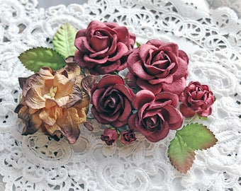 Reneabouquets  Roses, Gardenia And Leaves Flower Set-Mulberry Paper Flowers - Vintage Burgundy Set Of 12 Pieces In Organza Storage Bag