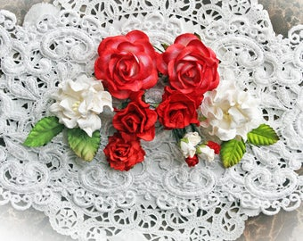 Reneabouquets Curly Roses & Gardenias Flower Set -Red And White  Mulberry Paper Flowers - Set Of 16 Pieces In Organza Storage Bag