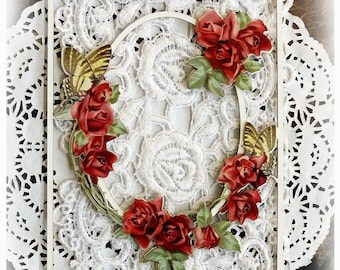 Reneabouquets Printed Beautiful Board Garden Party Trellis Rose Die Cut Frame With Beautiful Board Base Set