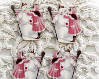 Reneabouquets Printed Beautiful Board Victoria's Snowman Itty Bitty Set Of 4 Laser Cut Chipboard Choose 1 1/2 Inch, 1 3/4 Inch, 2 Inch