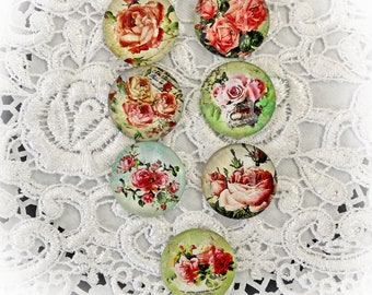 Reneabouquets Glass Dome Romantic Rose Cabochon Trinkets 7 Piece Pack 25mm