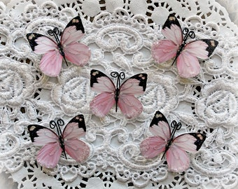Reneabouquets Tiny Treasures Butterfly Set -  Aurora Borealis In Pink Premium Paper Glitter Glass Butterflies