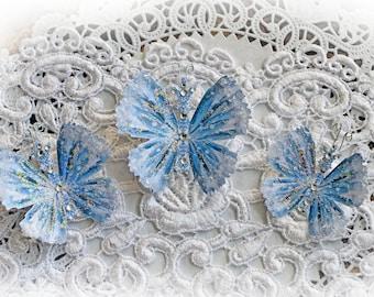 Reneabouquets Butterfly Set -  Frozen Glitter Glass  Butterflies Scrapbook Embellishment, Wedding, Home Decor, Party Decoration