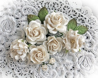 Reneabouquets  Roses, Gardenias And Leaves Flower Set-Mulberry Paper Flowers - White Set Of 12 Pieces In Organza Storage Bag